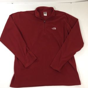 The North Face Red Fleece Zip Sweater Pullover L
